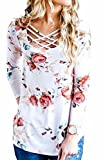 Walant Womens Floral Printed Long Sleeve Criss Cross V-Neck Casual Tops T-Shirt White Large