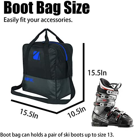SOWLAND Padded Ski Bag and Boot Bag Combo Transport Skis Up to 200 cm and Poles,Boots,Helmet for Men Women Ski Travel Bags