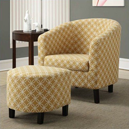 Monarch Specialties Burnt Yellow 'Circular' Fabric Accent Chair/Ottoman, 30-Inch