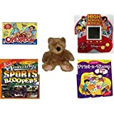 Children's Fun & Educational Gift Bundle - Ages 6-12 [5 Piece] - Operation Game - High School Musical 5 in 1 Electronic Handheld Game - Soft and Cuddly Brown Teddy Bear - Amazing Sports Bloopers DV