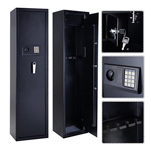 New 5 Rifle Electronic Lock Gun Storage Safe Cabinet Steel Firearm Lockbox Case