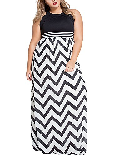 Gloria&Sarah Women's Wavy Chevron Print Striped Plus Size Maxi Dress,Black,XXXL