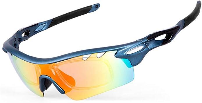 IKuaFly Gafas Ciclismo, Gafas de Sol Polarizadas con 5 Lentes Anti-Fog 400 UV TR90 Marco, Azul: Amazon.es: Deportes y aire libre