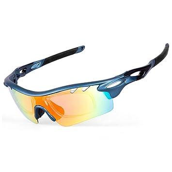 210fdceea1 IKuaFly Gafas Ciclismo, Gafas de Sol Polarizadas con 5 Lentes Anti-Fog 400  UV TR90 Marco, Azul: Amazon.es: Deportes y aire libre