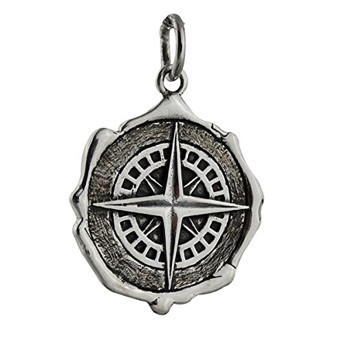 Compass Wax Seal Charm - 925 Sterling Silver Gift Navigate Graduation Pendant - Jewelry Accessories Key Chain Bracelets Crafting Bracelet Necklace Pendants