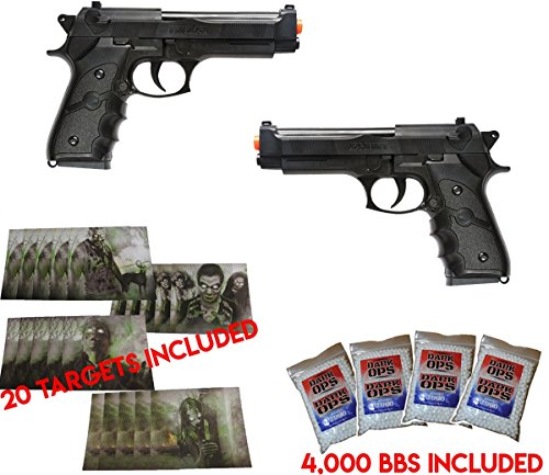 UKARMS Dual Airsoft Spring Pistols M9 92 6mm Beretta Full Size w/BBS & Targets ()