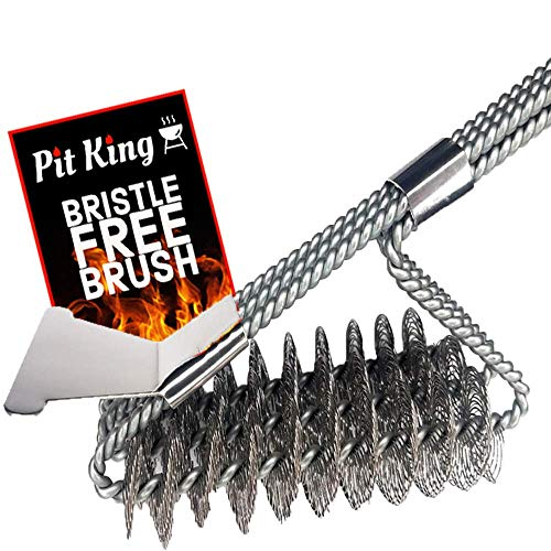 BBQ Brush Bristle Free | Premium Stainless Steel Bristle Free Brush | 18' Brush with 3 in 1 Grill Cleaning Head | Safe, Strong & Built to Last Guarantee! Great for All Grill Types!