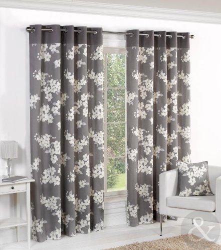Curtains Ideas charcoal and cream curtains : Just Contempo Floral Eyelet Lined Curtains, Grey, 66x54 inches ...