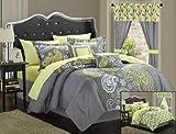Chic Home Olivia 20 Piece Comforter Set, Queen, Grey