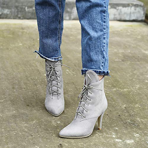 Hiver Suede Chaussures Martin Tpulling orteil Léopard Gris D'impression Talon Mode Semelle Anti Fin dérapante Fourrure Bottes Femmes Pointu 7qwqzE