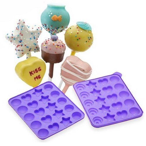 Allforhome 20 Pops Assorted Shapes Silicone Tray Pop Cake Stick Mould Lollipop Party Cupcake Baking Mold