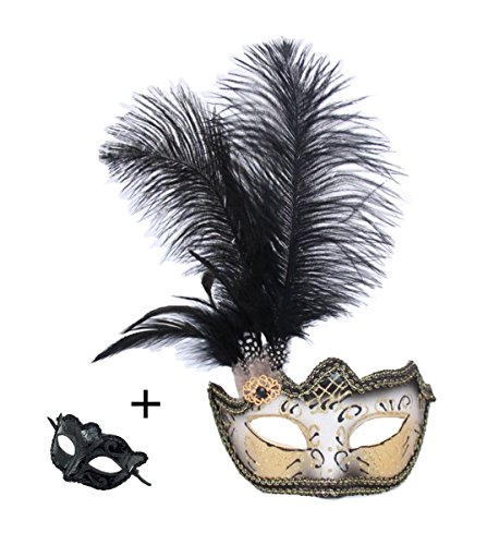 Venetian Masquerade Carnival Mask Womens Sexy Glitter Halloween Ball Mask Christmas Costume Party Mask Feather with Gift