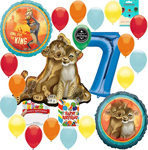 Lion King Party Supplies 7th Birthday Balloon Decoration Supply Bundle with Happy Birthday Card and 8 Treat Bags]()