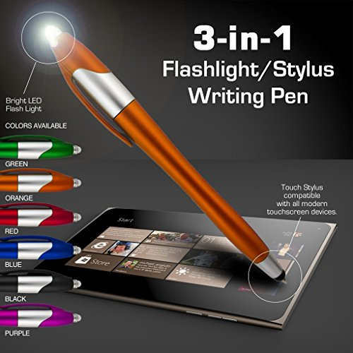 Stylus Pen, 3-1 Multi-Function, Ball Point Black Ink Pen, Capacitive Stylus for Touchscreen Devices, LED Flashlight, Medical Pen Light,for Home,Work,Doctors, and Nurses (12 Pack, Multi-Color)