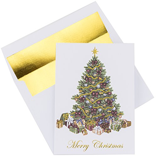 Premium Christmas Cards - 20 Pack - Traditional Christmas Tree with Gold Embossed Foil and Linen Texture -  20 Heavyweight Holiday Cards and Gold Foil Lined Envelopes