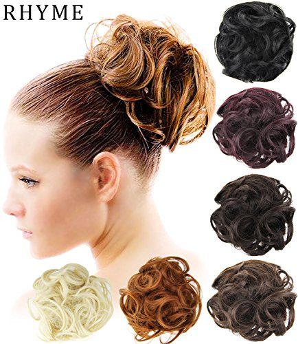 e Bun Up Do Chignon Donut Hairpiece Hair Ribbon Ponytail Extensions Wavy Curly or Messy Various Colors Hairpiece Hair Piece Wig Small Dish Hair Bun for Ladies ()