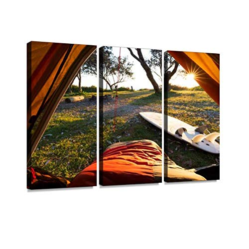 Morning Point of View from a Tent on a Surf Hike Print On Canvas Wall Artwork Modern Photography Home Decor Unique Pattern Stretched and Framed 3 Piece (Best Canvas Tents Australia)