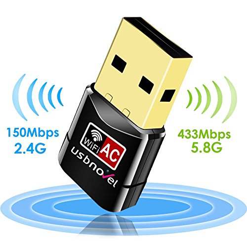 Wifi Adapter AC600, USBNOVEL Dual Band 2.4G/5G Wireless Wifi Dongle Network Card for for Desktop Laptop PC - 5 Minute Install for Windows and Mac - USBNovel USB Adapter