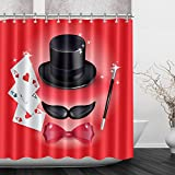 LB Magician Hat Mustache Tie Poker Cards Shower Curtains for Shower Stall, Magic Play Decor Curtain, 70x70 Shower Curtain Waterproof Mold Resistant
