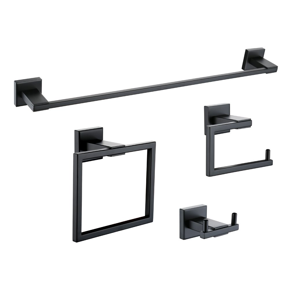 Kes 4-Piece Bathroom Accessory Set Towel Bar Toilet Paper Holder Towel Ring and Robe Hook Matt Black Wall Mount SUS 304 Stainless Steel, LA24BK-42