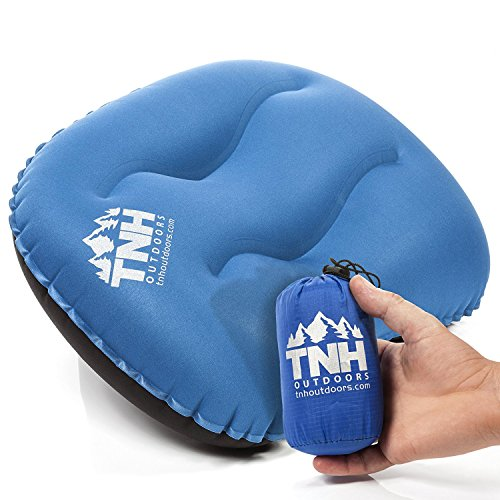Inflatable Camping Pillow By TNH Outdoors - Compressible Air Inflating Pillow for Outdoor Travel Hiking & Backpacking Use with Small Stuff Bag - Ergonomic Microfiber Design for Head and Neck Support