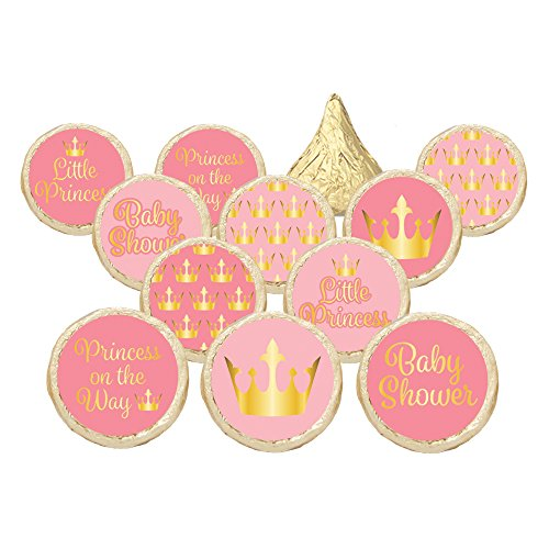 Pink and Gold Little Princess Baby Shower Party Favor Stickers (Set of - Invitations Princess Baby Shower