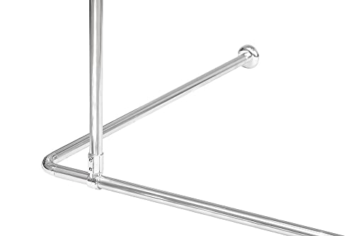 shower curtain rail rod 4 way use l or u shape with ceiling mount and semi open ring chrome. Black Bedroom Furniture Sets. Home Design Ideas