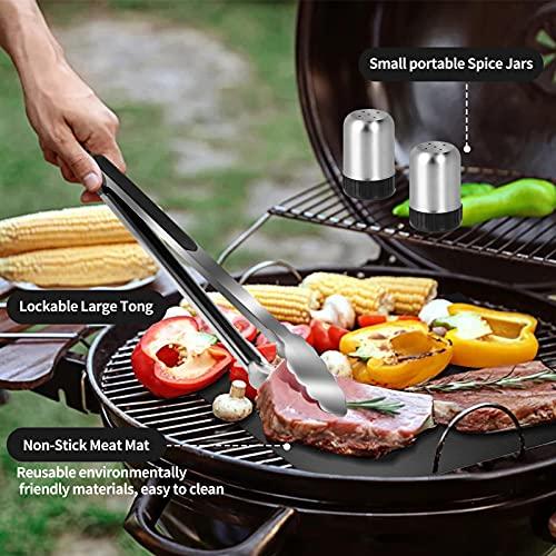 Ustensiles Barbecue, 30pcs Kit Barbecue Acier Inoxydable, Ensemble d\'outils pour Barbecue Portables avec Tablier de Rangement pour BBQ Camping Extérieur Hommes Femmes Cadeaux