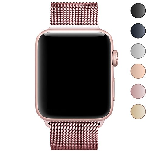 Walcase for Apple Watch Band 38mm 42mm, Milanese Loop Replacement Metal iWatch Band for Apple Watch Series 3 2 1 (38mm, Rose Gold)