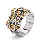 UNY Ring Beautiful Multi CZ Twisted Cable Wire Designer Fashion Brand Vintage Love Antique Womens Jewelry (8)