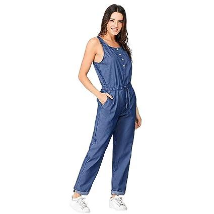 59555366d727 Dreamyth-Summer Womens Holiday Playsuit Blue Jeans Demin Elastic Waist  Strappy Long Beach Jumpsuit (