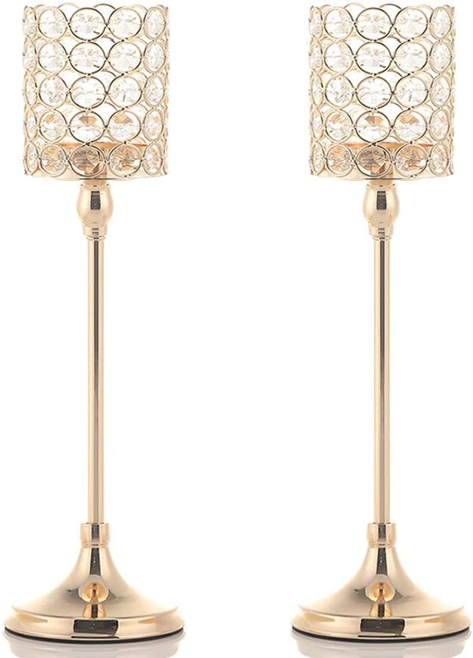 VINCIGANT Votive Crystal Candle Holders/Candle Lanterns for Home Office Decor Wedding Coffee Table Decorative Centerpiece,2PCS 16 Inches Tall Gold