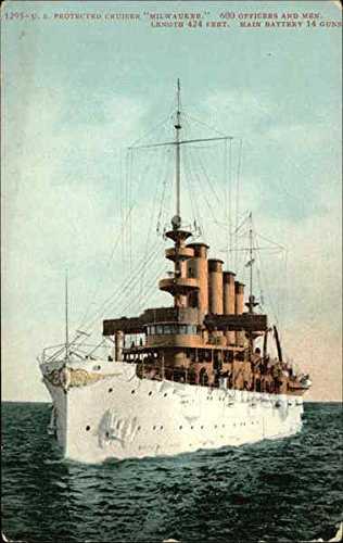 (US Protected Cruiser Milwaukee Ships Original Vintage Postcard)