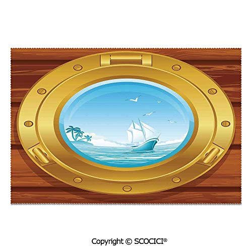SCOCICI Set of 6 Printed Dinner Placemats Washable Fabric Placemats Brass Porthole on a Wooden Penal Golden Metallic Palm Trees Island Birds for Dining Room Kitchen Table Decoration