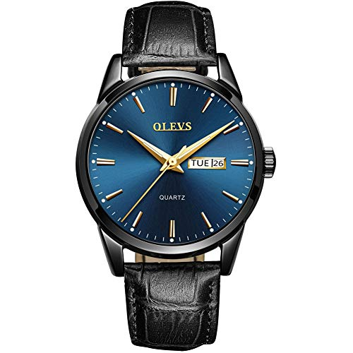 (Mens Blue/Black Watch,Quartz Watches Business Casual Fashion Analog Wrist Watch Classic Calendar Date Window,98FT 30M Water Resistant Comfortable PU Leather Watches-Luminous)