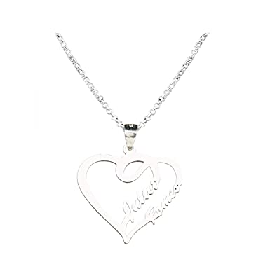 a7c7043257 Wisdoy Name Necklace Personalized Custom Couple/Lover Name Heart Necklace  Pendant Sterling Silver Chain Customized Handmade Gift for  Men/Women/Girls/Boys