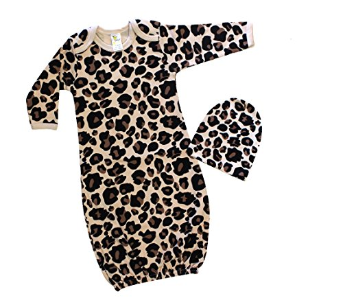 Laughing Giraffe Baby Girl Long Sleeve Sleeping Gown & Beanie Hat Set (0-3M, Leopard)