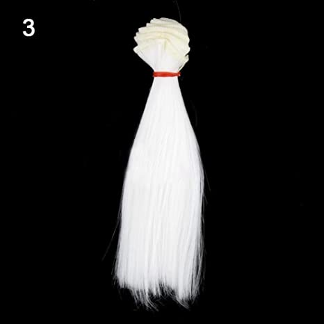 MAJGLGE Peluca de Pelo Recto de Seda de 15 cm para muñeca Barbie BJD
