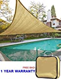 Quictent Outdoor 20′ x 20′ x 20′ Triangle Sun Shade Sail Canopy Patio Garden Top Cover- Sand, with Free Carry Bag For Sale