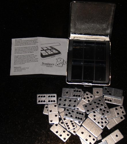 Standard 28 Piece Metal Miniature Dominoes Set w/Metal Travel (28 Piece Domino Sets)