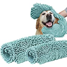 """Turquoize 2 Pack Microfiber Pet Bath Towels Chenille for Cleaning Dogs & Cats - Large 32"""" x 16"""" Plus 24"""" x 14""""- Hypoallergenic Grooming Absorbent Animal Dry Towel Blue"""