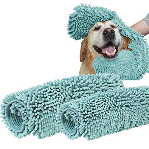 Turquoize 2 Pack Microfiber Pet Bath Towels Chenille for Cleaning Dogs & Cats - Large 32 x 16 Plus 24 x 14- Hypoallergenic Grooming Absorbent Animal Dry Towel Blue