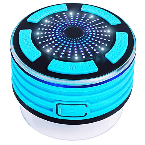 Waterproof Bluetooth Speaker, Yapeach Portable Wireless Music Player with Stereo Sound FM for Shower Party Home Outdoor (LightBlue) (Light Outdoor 3w Break)