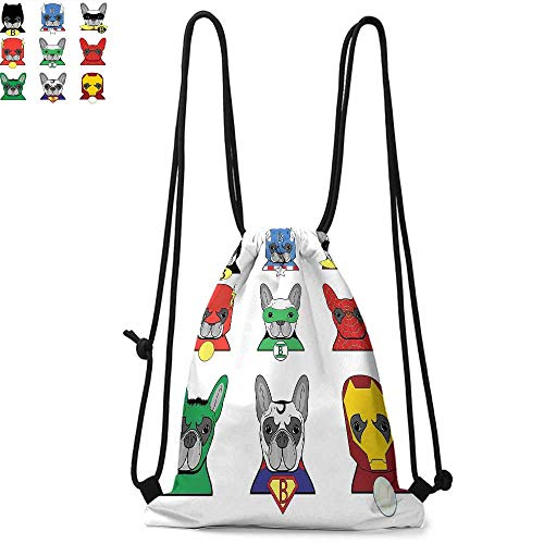 Superhero Drawstring backpack series Bulldog Superheroes Fun Cartoon Puppies in Disguise Costume Dogs with Masks Print Convenient choice for daily activities W17.3 x L13.4 Inch Multicolor