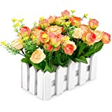 Louis Garden Artificial Flowers Fake Rose in Picket Fence Pot Pack - Mini Potted Plant (Yellow-Orange)