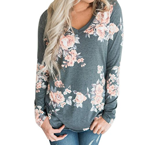 E-Scenery Women's Casual Floral Print V-Neck Loose Long Sleeve Cotton Blouse Shirts Tunic Tops T-Shirt (Gray, Small)