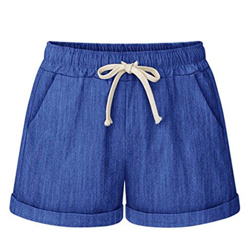 Szie in cotone Maglia Basic Donna sciolto Haren Ultra Blu Pantaloncini Plus estate Luckywe U4aIqa
