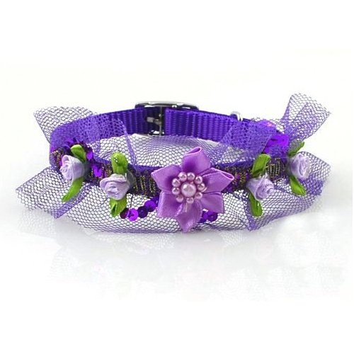 Lightahead® fancy lace Pet Collar with beads ,bell and flowers for your dog cat (Purple)
