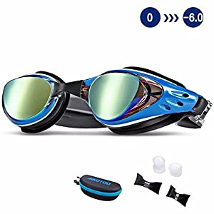 Swim Goggles,Shortsighted Swimming Goggles Myopic with Prescription Lenses Anti Fog Nose Clip Ear Plugs for Women Kids Men, Swimming Goggles Blue