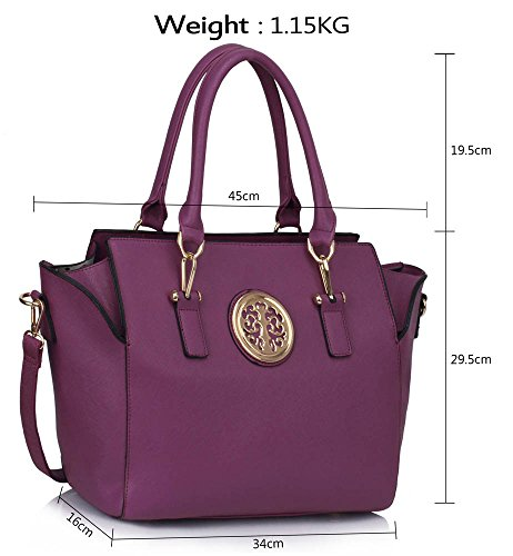 Designer Design 1 Leather Handbags Purple Womens Ladies New Faux Tote Style New Look Luxury Shoulder Large Bags wYnnFHTq